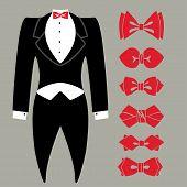 image of coat tie  - Black tuxedo with red bow tie - JPG