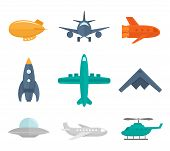 stock photo of fighter plane  - Aircraft icons flat set of zeppelin aircraft war fighter isolated vector illustration - JPG