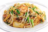 stock photo of thai cuisine  - Thai style noodles Pad thai on white plate - JPG