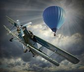 picture of biplane  - Retro style picture of the biplane and hot air balloon - JPG