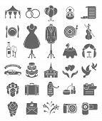 stock photo of ring-dove  - Set of dark silhouette wedding icons for organizing a ceremony and a wedding party - JPG