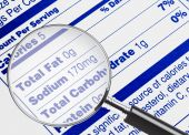 stock photo of food label  - Nutrition information being studied under a magnifying glass - JPG