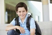 stock photo of pre-teen boy  - Pre teen boy at school - JPG