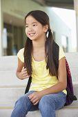 stock photo of pre-teen girl  - Pre teen girl at school - JPG