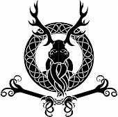 picture of sorcerer  - Druid symbol with antlers in Celtic circle - JPG