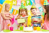pic of preschool  - happy preschool kids girls and boy celebrating birthday party - JPG