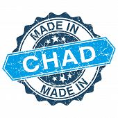picture of chad  - made in Chad vintage stamp isolated on white background - JPG