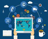 stock photo of electronic commerce  - Shopping on world map on screen of tablet - JPG