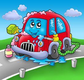 stock photo of car wash  - Cartoon car wash on road  - JPG