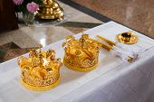 stock photo of glans  - Wedding crowns in church ready to wedding ceremony - JPG