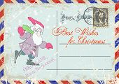 image of gnome  - vintage grunge postcard with the image of a cheerful gnome and congratulations on Christmas - JPG