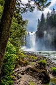 stock photo of opulence  - The Beautiful Snoqualmie Waterfall in the Great Pacific Northwest - JPG