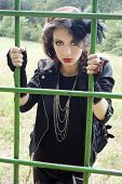 foto of gothic girl  - Beautiful girl in gothic inspired outfit all in black. ** Note: Soft Focus at 100%, best at smaller sizes - JPG