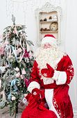 pic of saint-nicolas  - Saint Nicolas with a bag of gifts sits near a Christmas fir - JPG
