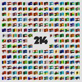 stock photo of waveform  - Set of two hundred and fourteen national flags that celebrate Independence Day - JPG