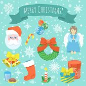stock photo of christmas angel  - Set of cartoon vector Christmas icons with Santa Claus face - JPG