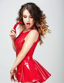 picture of chili peppers  - Provocative Female in Red Clothes with Hot Chili Pepper - JPG