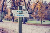 foto of crossroads  - Sign pole with arrows at the crossroad of the walking alleys of a park marking opposite directions towards right and wrong retro effect faded look - JPG