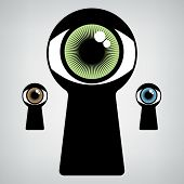 picture of voyeur  - open human eye in keyhole - JPG