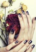 pic of rose close up  - close up picture of manicure nails with dry flower red rose - JPG