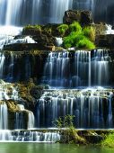 foto of lats  - Tropical rainforest landscape with flowing Pongour waterfall - JPG