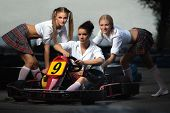 picture of karts  - Girls play in Karting - JPG