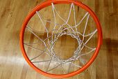 foto of basketball  - The basketball ring above a basketball floor - JPG