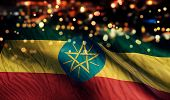 foto of ethiopia  - Ethiopia National Flag Light Night Bokeh Abstract Background - JPG