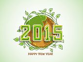 image of save earth  - Happy New Year 2015 celebration with earth covered by green leave for save nature concept - JPG