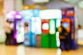 pic of automatic teller machine  - Abstract blurry automatic teller machine or ATM in building - JPG