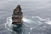 pic of cliffs moher  - Branaunmore sea stack in Atlantic Ocean - JPG