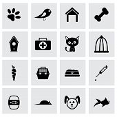 picture of dog poop  - Vector black pet icons set on grey background - JPG