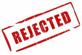 picture of rejection  - Rejected red stamp isolated on white background - JPG