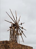 image of canary-islands  - Historic wooden wind mill in Valles de Ortega with twelve wings on the Spanish island Fuerteventura - JPG