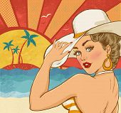 stock photo of woman bikini  - Comic illustration of girl  on the beach - JPG