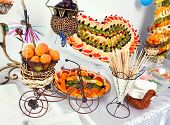 picture of fruits  - fruit buffet with fruit  heart and fruit pyramid heart - JPG