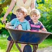 stock photo of wheelbarrow  - Two little boy friends having fun in a wheelbarrow pushing by woman in domestic garden on warm sunny day - JPG
