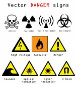 stock photo of dangerous  - Warning and danger signs vector illustration isolated over white background - JPG