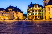 picture of sibiu  - City hall and Brukenthal palace in Sibiu Transylvania Romania at night - JPG