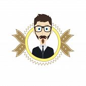 stock photo of geek  - geek male cartoon theme vector art illustration - JPG