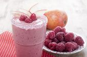 Постер, плакат: Fruit Berry Smoothies With Pear And Raspberries With Yogurt