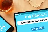 stock photo of recruiting  - Tablet with words Executive Recruiter on  job search site - JPG