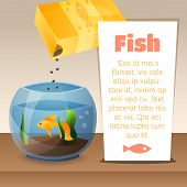 pic of goldfish  - Goldfish in a bowl with text and food - JPG