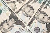 image of twenty dollars  - Twenty american dollars banknotes close - JPG