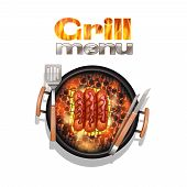 pic of grilled sausage  - Grill menu design concept with realistic sausages cooking on bbq vector illustration - JPG