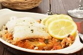 foto of cod  - Cod Provencal with rice and ratatouille and lemon slices - JPG