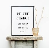 pic of scandinavian  - Motivational frame BE THE CHANGE - JPG