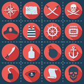 stock photo of pirate  - Set of pirate or sea icons - JPG