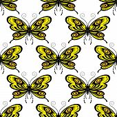 image of fragile  - Butterflies seamless pattern showing fragile insects with bright yellow and orange tracery open wings and long curly antennae on white background - JPG