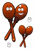 stock photo of maracas  - Pair of wooden polished maracas cartoon characters depicting mexican traditional percussion musical instruments with funny smiling faces for childish or party design - JPG